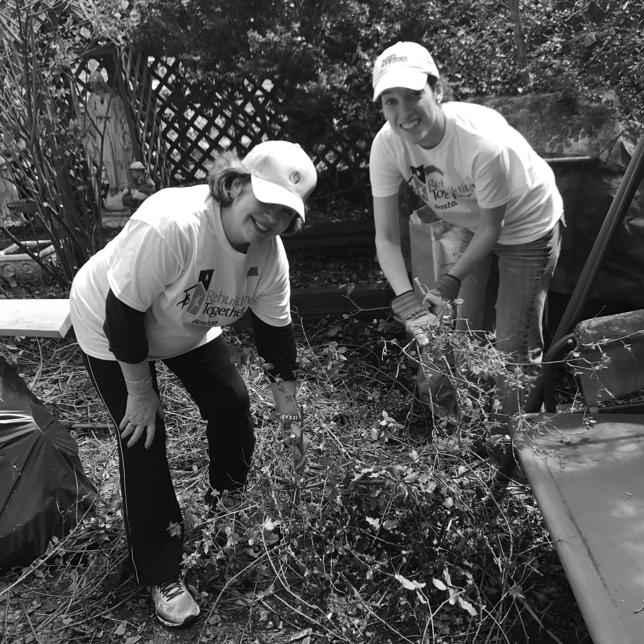 Volunteers gardening at the Dorchester Ave Repair